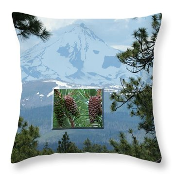 Mount Jefferson With Pines Throw Pillow