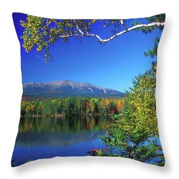 Mount Katahdin From Touge Pond Throw Pillow