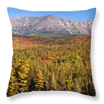 Mount Katahdin In Gold Throw Pillow