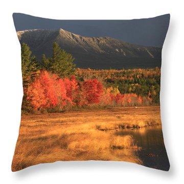 Mount Katahdin Snow Foliage Throw Pillow