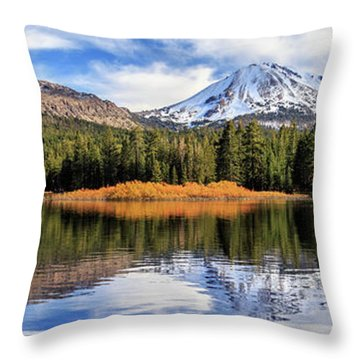 Mount Lassen Reflections Panorama Throw Pillow