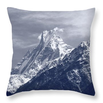 Mount Machapuchare, The Himalayas, Nepal Throw Pillow