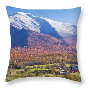 Mount Mansfield Autumn Snowfall Throw Pillow