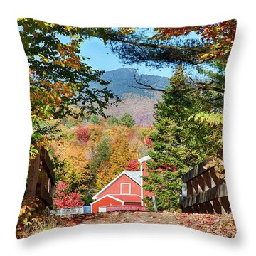 Throw Pillow featuring the photograph Mount Mansfield Seen Through Fall Foliage by Jeff Folger