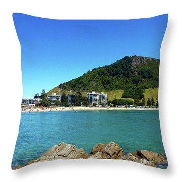 Mount Maunganui Beach 10 - Tauranga New Zealand Throw Pillow