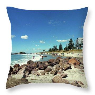 Mount Maunganui Beach 2 - Tauranga New Zealand Throw Pillow