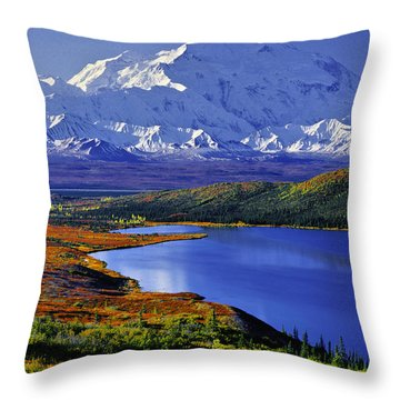 Mount Mckinley And Wonder Lake Campground In The Fall Throw Pillow