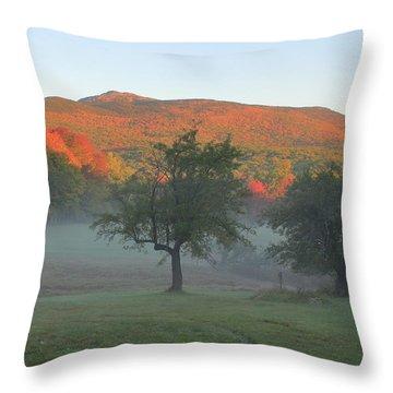 Mount Monadnock Autumn Morning Throw Pillow by John Burk