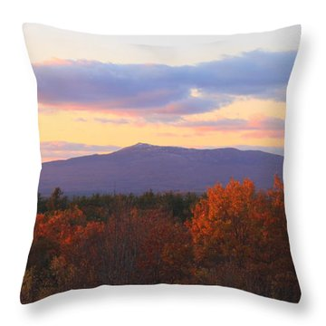 Mount Monadnock Autumn Sunset Throw Pillow by John Burk