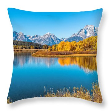Mount Moran From The Snake River In Autumn Throw Pillow by James Udall