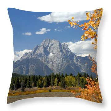 Mount Moran In Autumn Throw Pillow by Larry Ricker