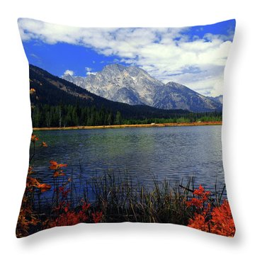Throw Pillow featuring the photograph Mount Moran In The Fall by Raymond Salani III