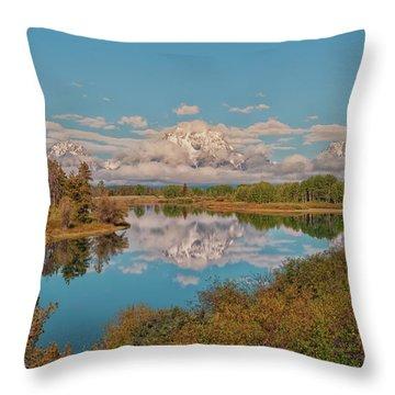 Mount Moran On Oxbow Bend Throw Pillow