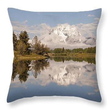 Mount Moran On Oxbow Bend Panorama Throw Pillow