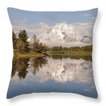 Mount Moran On Oxbow Bend Panorama Throw Pillow by Brian Harig
