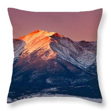 Mount Princeton Moonset At Sunrise Throw Pillow