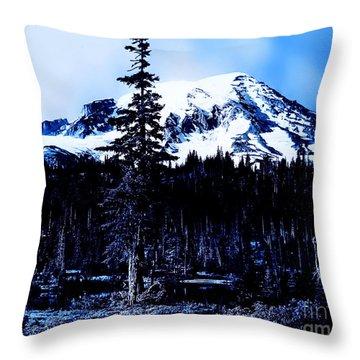 Mount Rainier Blue... Throw Pillow
