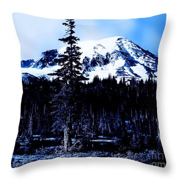 Mount Rainier Blue... Throw Pillow by Eddie Eastwood
