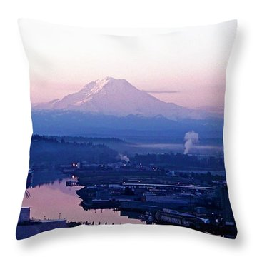 Mount Rainier Dawn Above Port Of Tacoma Throw Pillow