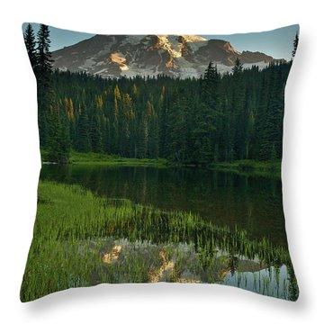 Mount Rainier Dawn Reflection Throw Pillow