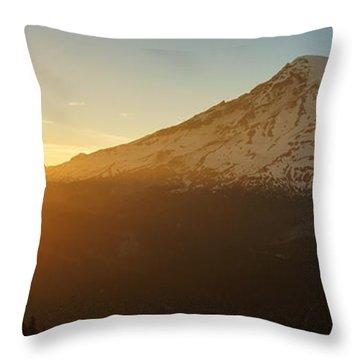 Mount Rainier Evening Light Rays Throw Pillow by Mike Reid