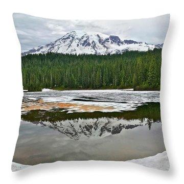 Mount Rainier From Reflection Lakes Throw Pillow