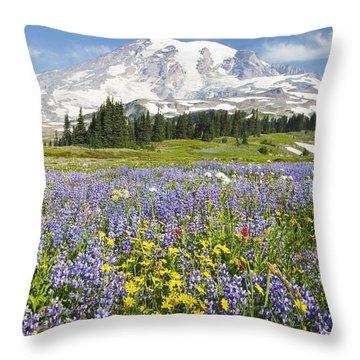 Mount Rainier National Park Throw Pillow by Craig Tuttle