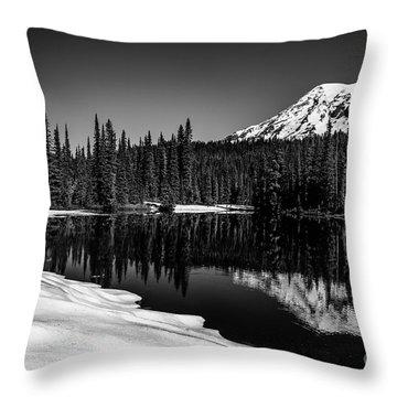 Mount Rainier Reflection Throw Pillow