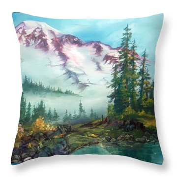 Throw Pillow featuring the painting Mount Rainier by Sherry Shipley