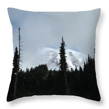 Mount Rainier Throw Pillow by Tony Mathews