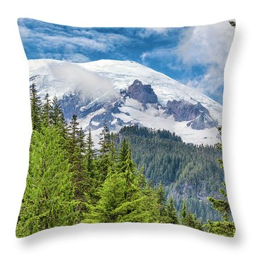 Throw Pillow featuring the photograph Mount Rainier View by Stephen Stookey