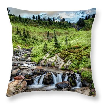 Throw Pillow featuring the photograph Mount Rainier's Edith Creek by Pierre Leclerc Photography