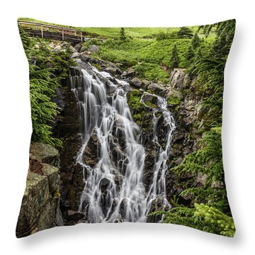 Throw Pillow featuring the photograph Mount Rainier's Myrtle Falls by Pierre Leclerc Photography