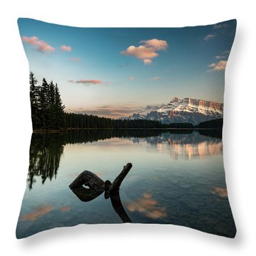 Mount Rundle And Two Jack Lake Throw Pillow