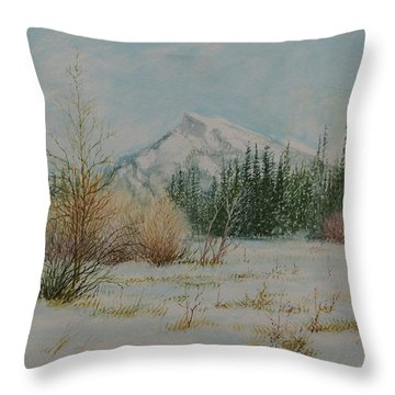 Mount Rundle In Winter Throw Pillow