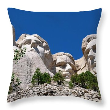 Mount Rushmore Close Up View Throw Pillow