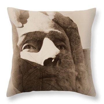 Mount Rushmore Faces Jefferson Throw Pillow