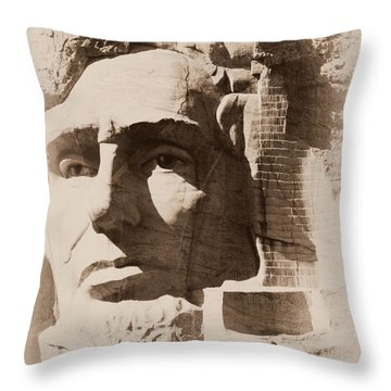 Mount Rushmore Faces Lincoln Throw Pillow