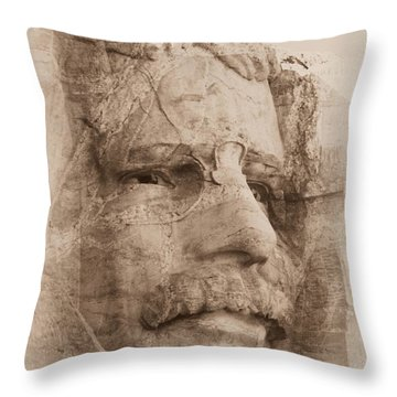 Mount Rushmore Faces Roosevelt Throw Pillow
