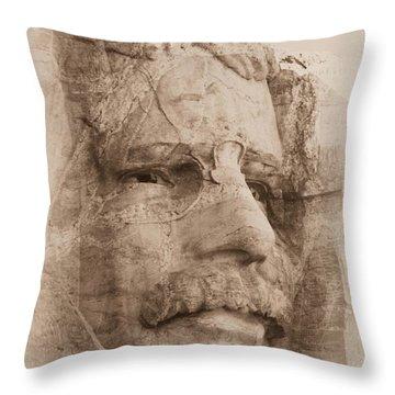 Mount Rushmore Faces Roosevelt Throw Pillow