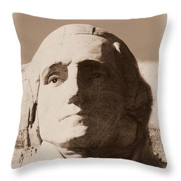 Mount Rushmore Faces Washington Throw Pillow