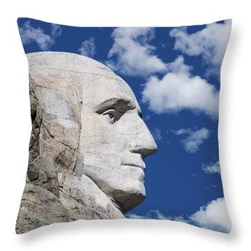 Mount Rushmore Profile Of George Washington Throw Pillow