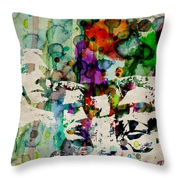 Mount Rushmore Watercolor Presiden Throw Pillow