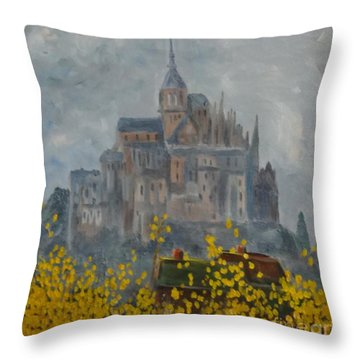 Throw Pillow featuring the painting Mount Saint Michael by Rod Ismay