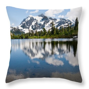 Mount Shuksan Reflected In Picture Lake Throw Pillow by Jeff Goulden