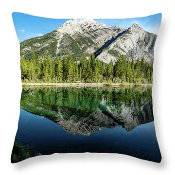 Mount Skogan Reflected In Mount Lorette Ponds, Bow Valley Provin Throw Pillow