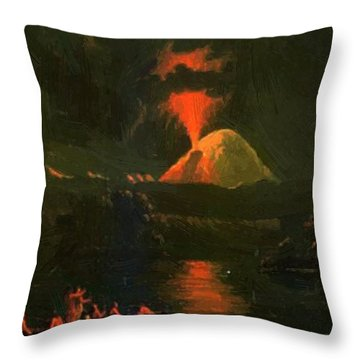 Mount St Helens Erupting At Night Throw Pillow