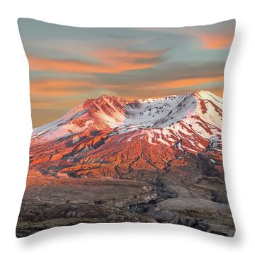 Mount St Helens Sunset Washington State Throw Pillow