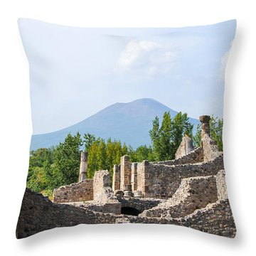 Mount Vesuvius Beyond The Ruins Of Pompei Throw Pillow
