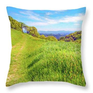 Mount Wanda Digital Watercolor Throw Pillow